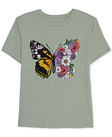 Juniors' Butterfly Flower Graphic T-Shirt