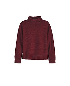 Women's Plus Size Seed Stitch Rolling Mock Neck Sweater