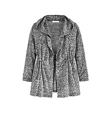 Women's Plus Size Cheetah Cinched Waist Cardigan