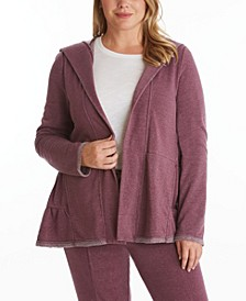 Women's Plus Size Tiered Hooded Cardigan