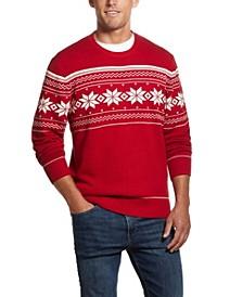 Men's Snowflake Crew Neck Sweater