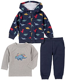Baby Boys Dino Print Fleece Pant Set