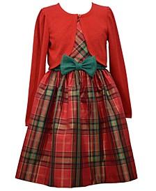 Little Girls Glitter Knit Cardigan Over Plaid Dress