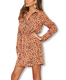 Women's Heart Printed Shirt Dress