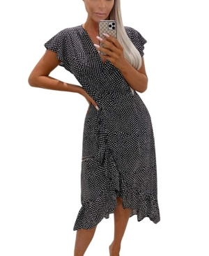Women's Polka Dot Ruffle Wrap Midi Dress
