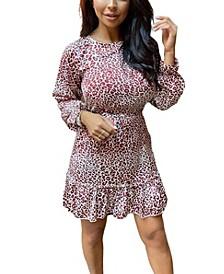 Women's Printed Frill Hem Skater Dress