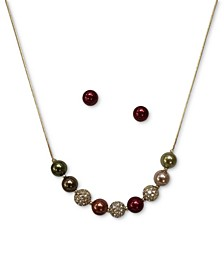 Gold-Tone Pavè Fireball & Colored Imitation Pearl Statement Necklace & Stud Earrings Set, Created for Macy's