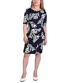 Petite Ruched Faux-Wrap Dress