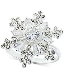 Silver-Tone Crystal Snowflake Statement Ring, Created for Macy's