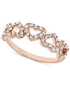 18K Rose Gold Plate Pavé Open Heart Ring, Created for Macy's