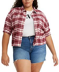 Trendy Plus Size Maple Cotton Plaid Utility Shirt