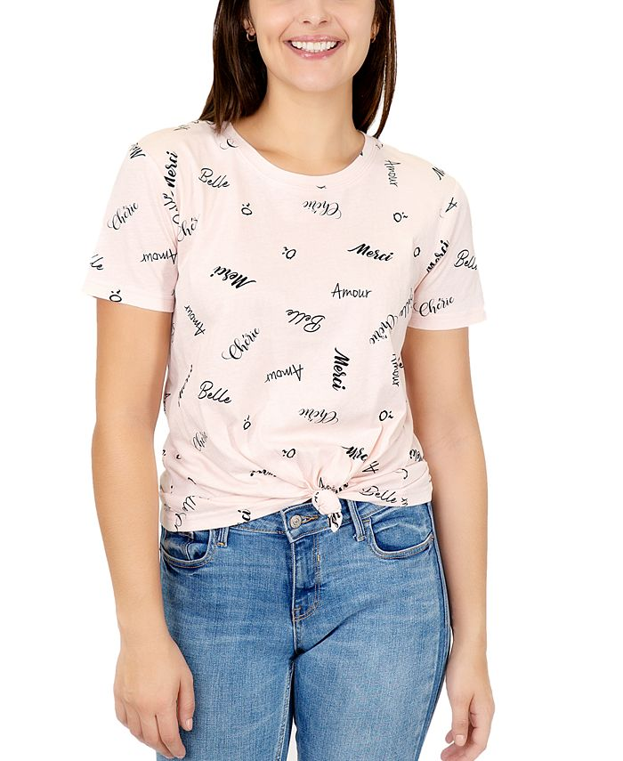 Rebellious One - Juniors French Words-Print Knot-Front Cotton T-Shirt
