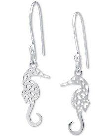 Filigree Seahorse Drop Earrings in Sterling Silver, Created for Macy's