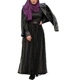 Women's Mesh Polka Dots Maxi Dress