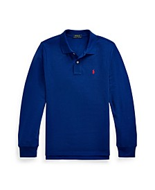 Big Boys Mesh Long-Sleeve Polo Shirt