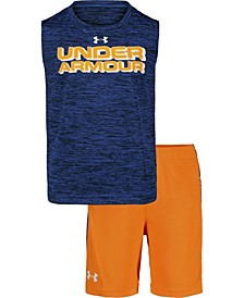 Toddler Boys Branded Twist Tank Top and Shorts Set