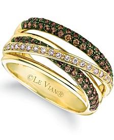 Chocolate (3/4 ct. t.w.) & Vanilla Diamond (1/6 ct. t.w.) Multirow Crossover Ring in 14k Gold