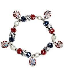 Silver-Tone Imitation Pearl, Bead & Cameo Charm Stretch Bracelet
