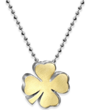 """Lucky Clover 16"""" Pendant Necklace in Sterling Silver & 18k Gold-Plate"""