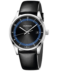 Men's Completion Black Leather Strap Watch 43mm