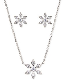 Silver-Plated Cubic Zirconia Snowflake Pendant Necklace & Stud Earrings Set, Created for Macy's