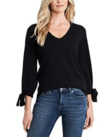 Tie-Sleeve V-Neck Sweater