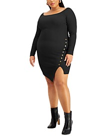 Trendy Plus Size Asymmetrical Bodycon Dress