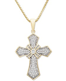"""Men's Diamond Cross 22"""" Pendant Necklace (1 ct. t.w.) in 14k Gold-Plated Sterling Silver"""