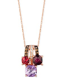 Multi-Stone (1-5/8 ct. tw.) and Diamond Accent Pendant Necklace in 14k Rose Gold