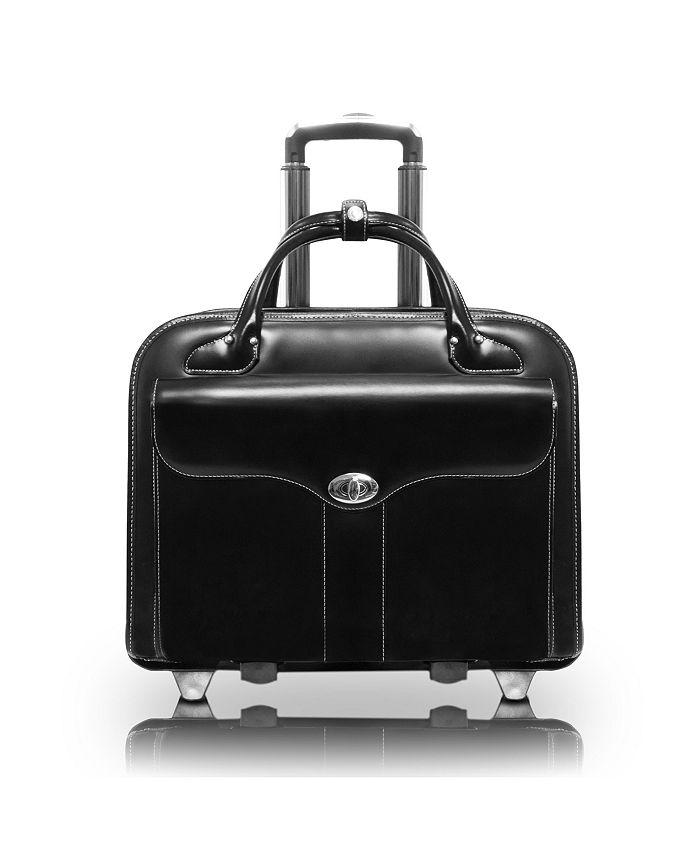 "McKlein - BERKELEY,Top Grain Cowhide Leather 15.4"" r Patented Detachable -Wheeled Ladies' Briefcase, Red (97046)"