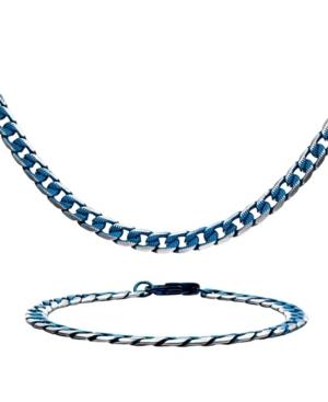 Men's Curb Chain Necklace and Bracelet Set