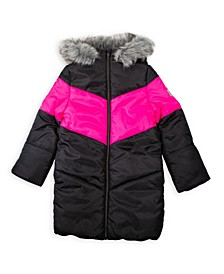 Big Girls Chevron Long Puffer Coat