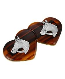 Women's Silver-Tone Tortoise Heart Barrette with Horse Heads