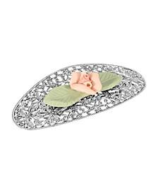 Women's Silver-Tone Porcelain Flower with Green Leaf Hair Barrette
