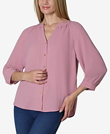 Women's 3/4 Sleeve Solid Shirred Neck Button Front Blouse