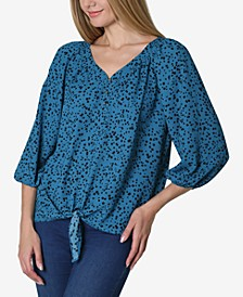 3/4 Sleeve Henley Tie Front Blouse