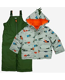 Toddler Boys 2 Piece Snowsuit with Dino Print Jacket