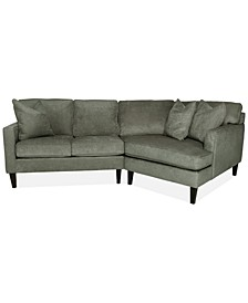 "Brennedy 89"" 2-Pc. Fabric Sectional with Cuddler Chaise, Created for Macy's"