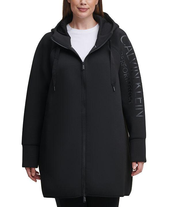 Calvin Klein Plus Size High-Density Logo Zip Hoodie