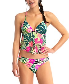 Juniors' Tropical-Print Tankini & Hipster Bottoms, Created for Macy's