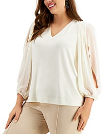 Plus Size Split-Sleeve Top, Created for Macy's