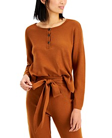 Over-Sized Knit Henley Top
