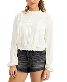 Juniors' Pleated Lace-Trim Blouse