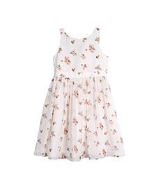 Big Girls Clip Dot Floral Print Dress