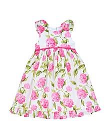 Little Girls Braid Trim with Floral Print Dress