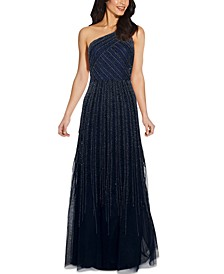 One-Shoulder Embellished Ball Gown
