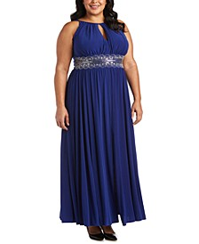 R&M Richards Plus Size Sleeveless Beaded Gown