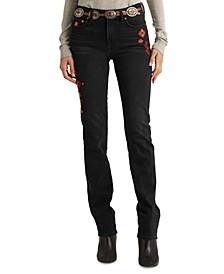 Embroidered Straight Jeans