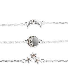 Silver-Tone 3-Pc. Set Pavé Moon & Stars Link Bracelets
