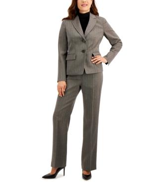 Herringbone-Pattern Pants Suit